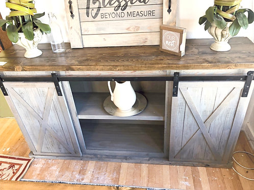 6ft Farmhouse Sliding Door Buffet