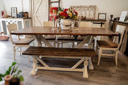 7ft Farmhouse Table & Bench