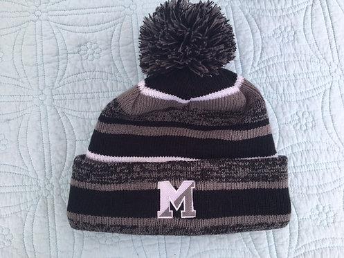 Marshfield POM POM Grey Hat with Green M