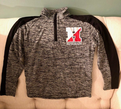 Hingham Black Heathered 1/4 Zip Up- Adult
