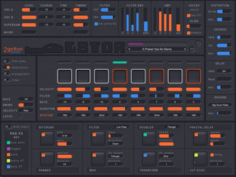 2getheraudio releases G8TOR, a sequencer synth with live action pad effects using Qubiq's struQt