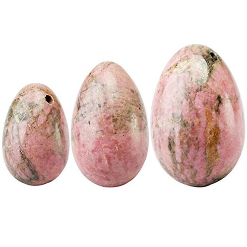 Rhodonite Set of 3 Drilled Yoni Eggs (2 week delivery)