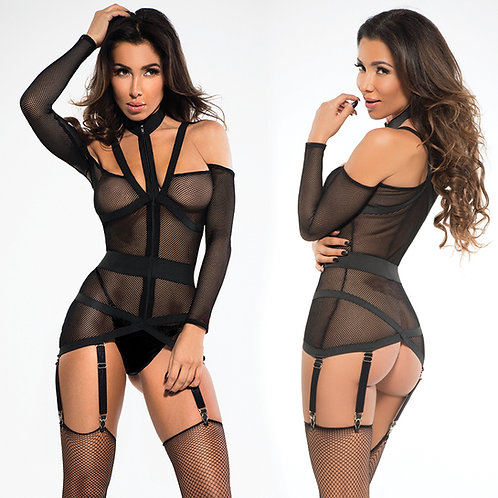 Adore Chloe Fishnet Corselette With Garters