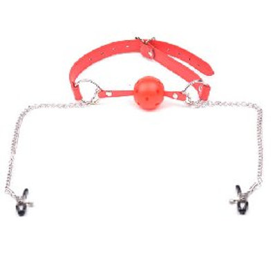 Nipple Clamping Gag Ball