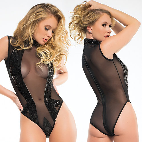 Adore Coco Sleeveless Sequins & Sheer Bodysuit