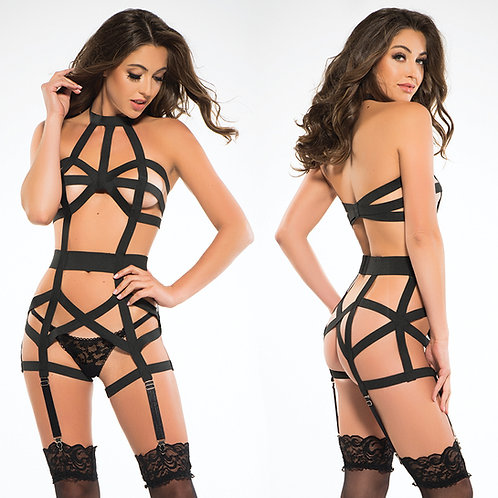 Adore Leia Corselette With Garthers-Black