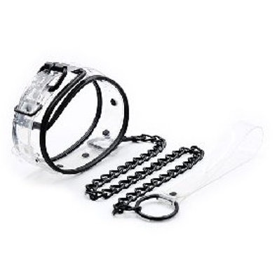 Clear Color Bondage Collar with Chain