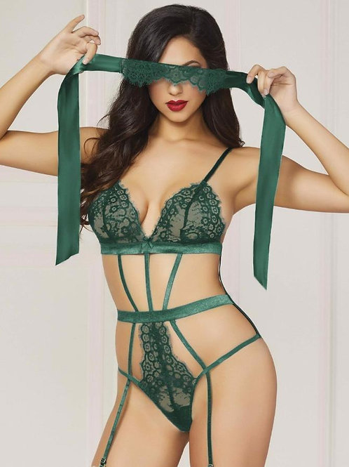 Lace And Satin Teddy With Eye Mask-Green