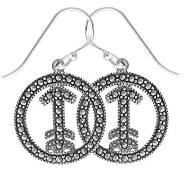 #069  Marcasite Arrow in Circle Earrings