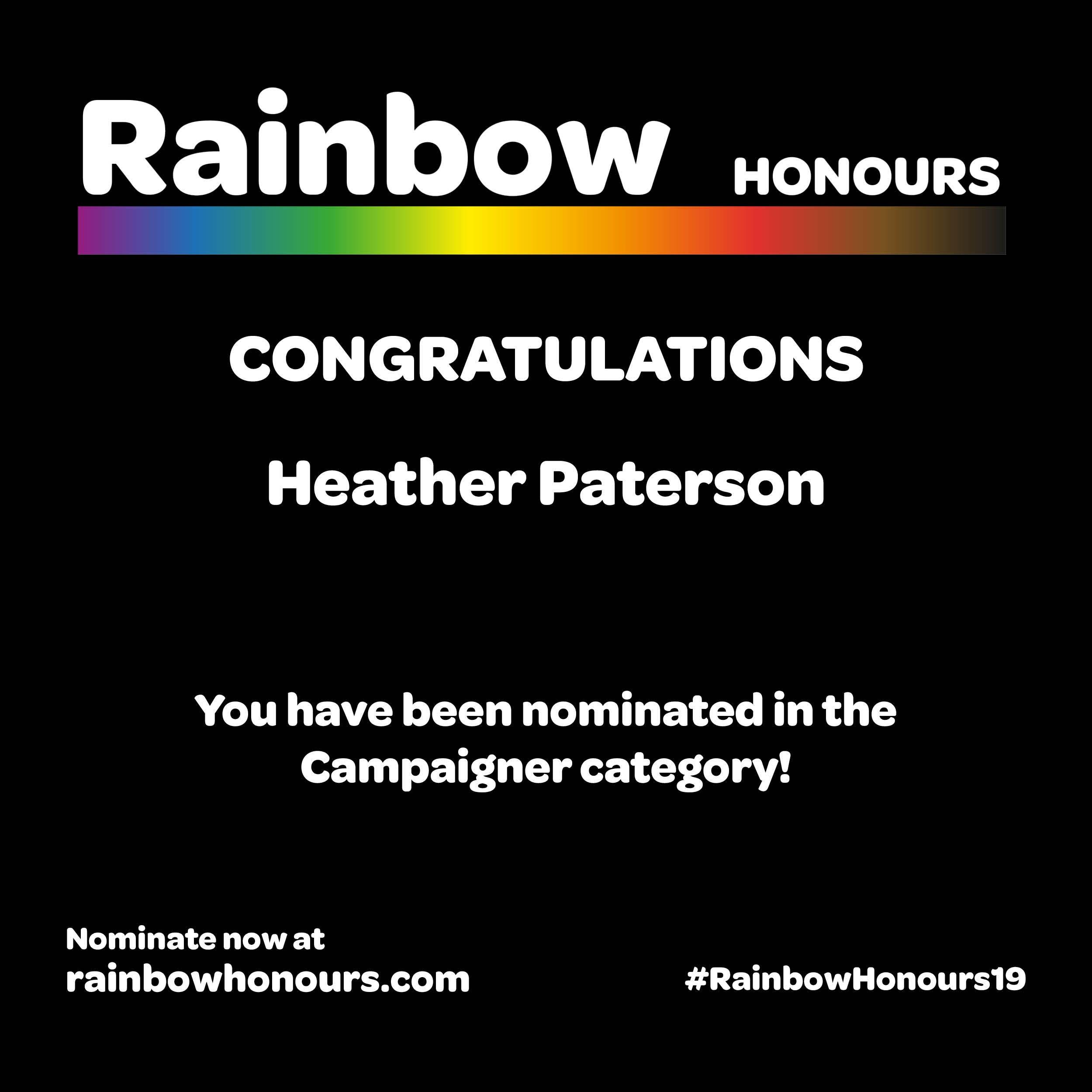 Rainbow Honours 2019