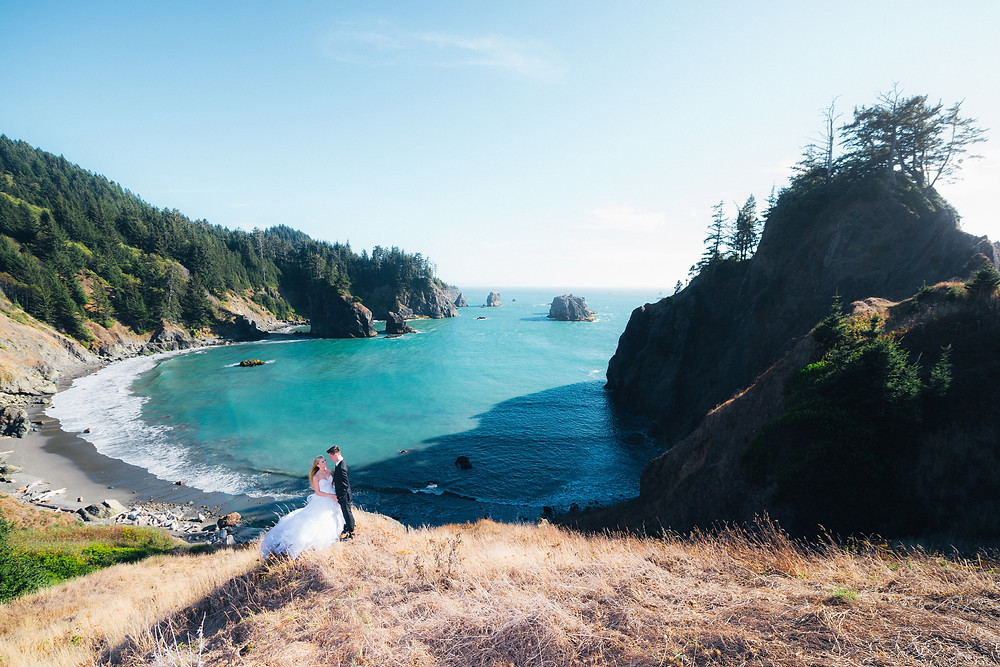 Drone photo of wedding couple at the beach in Brookings Oregon