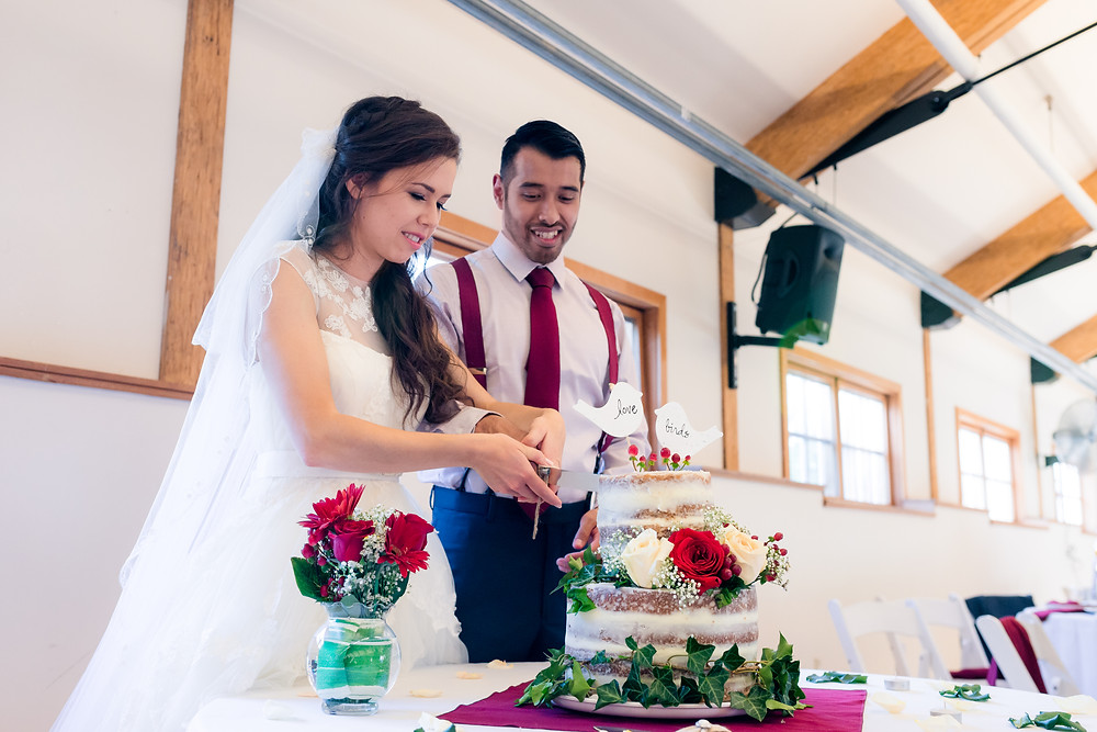 cutting of wedding cake