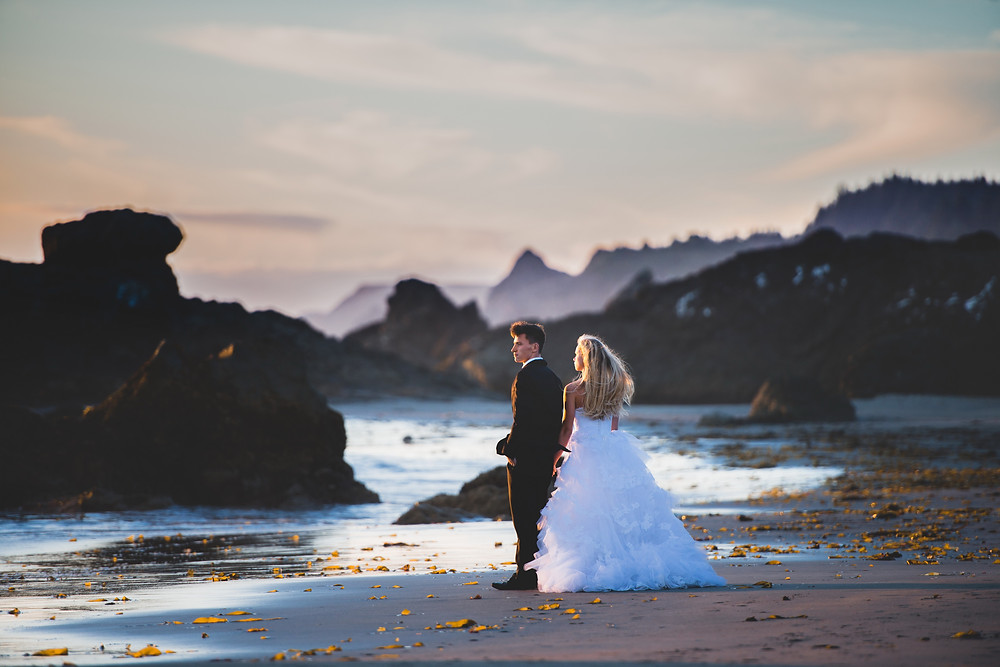 bride and groom looking at the sunset at the beach