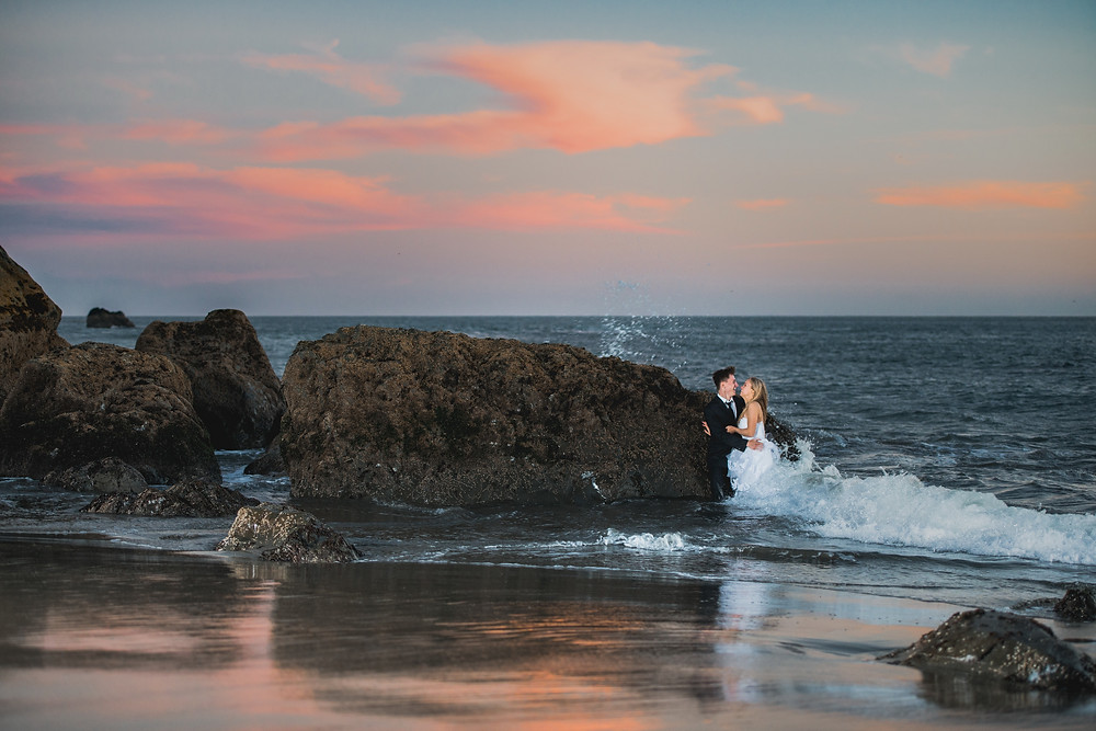 wedding couple in water, trash the dress photoshoot