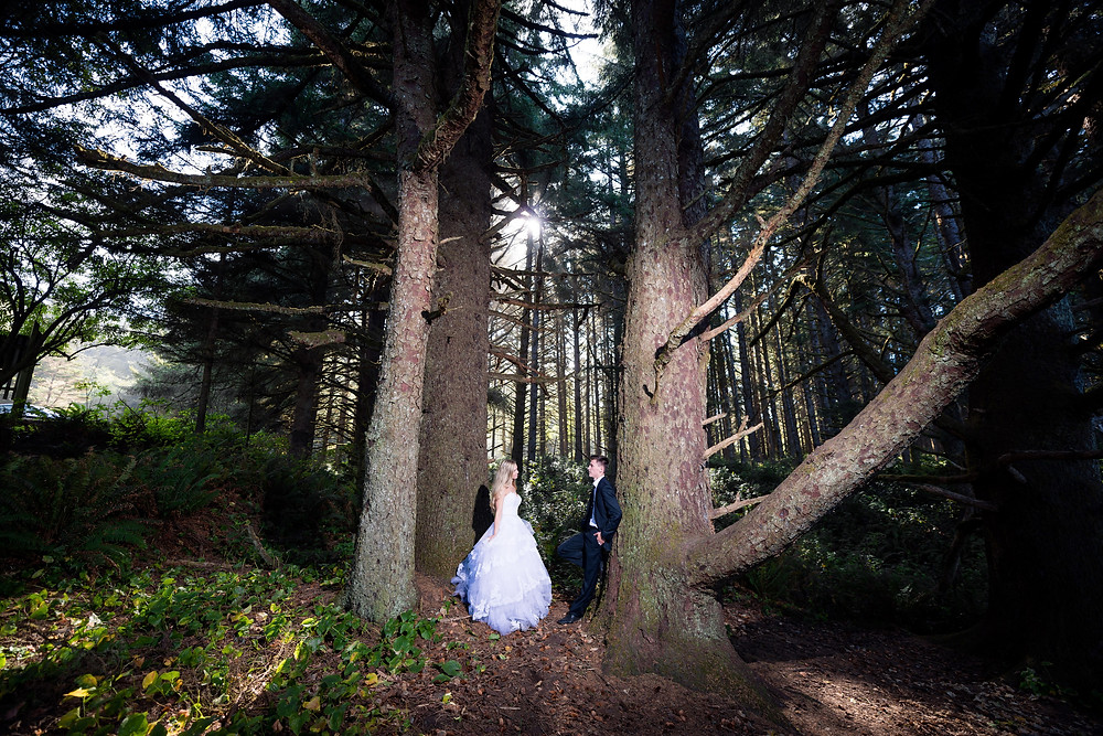 bride and groom in the woods, Brookings Oregon