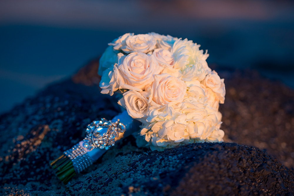 bridal bouquet illuminated by sunset