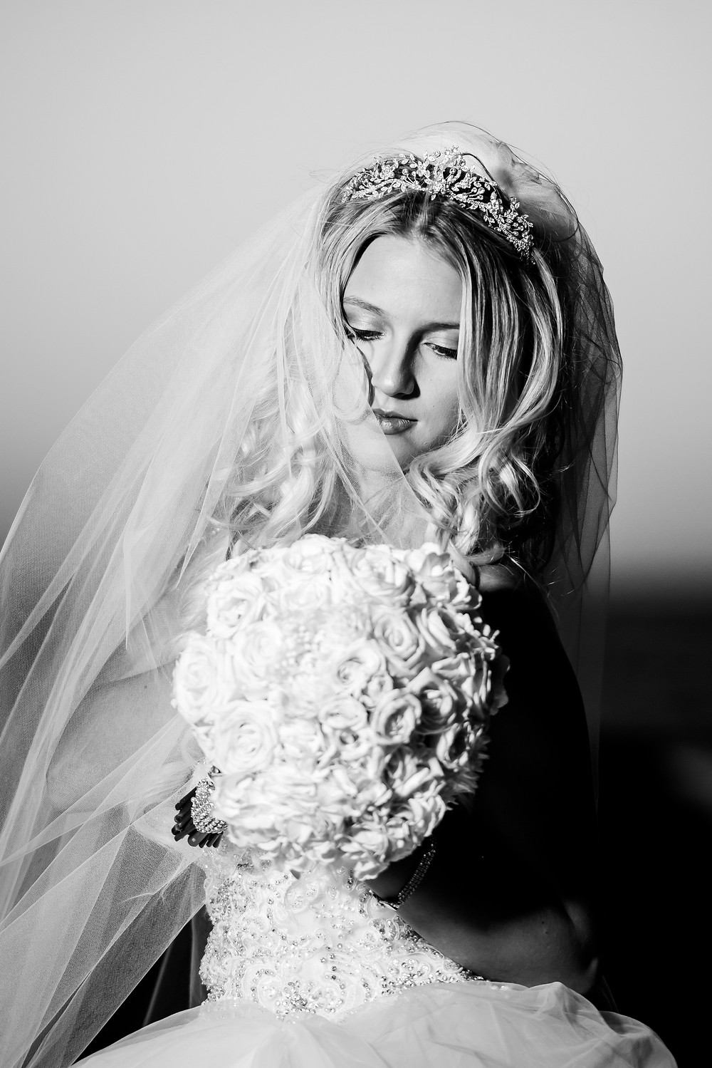 portrait of bride in black and white