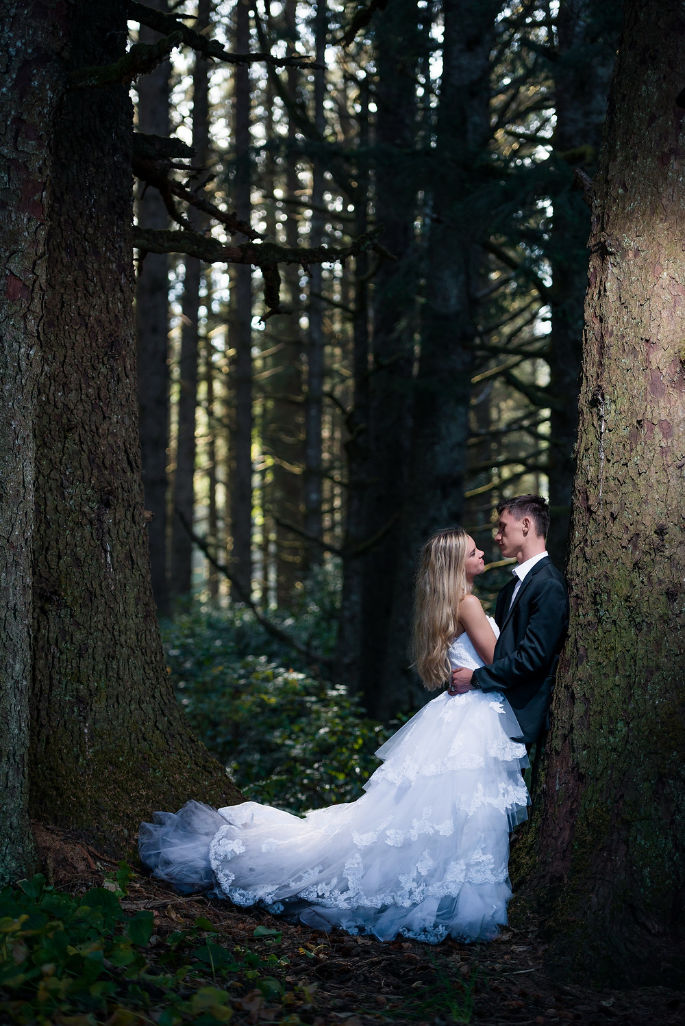 bride and groom by large trees