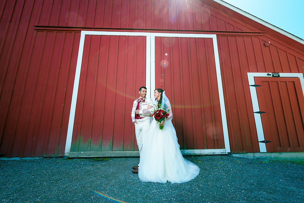 wedding picture at red barn