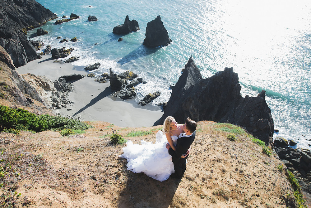majestic drone photo of wedding couple at Samuel H. Boardman scenic corridor