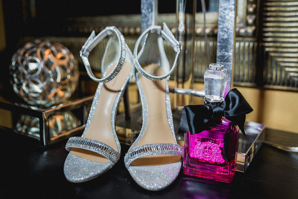 brides shoes and perfume, sandals and ring