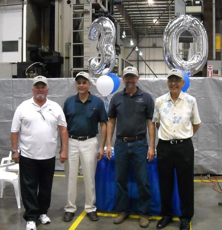 Larry Tribe, Tom Martinez, Don Turek, and Larry Martinez celebrate our 30th Anniversary