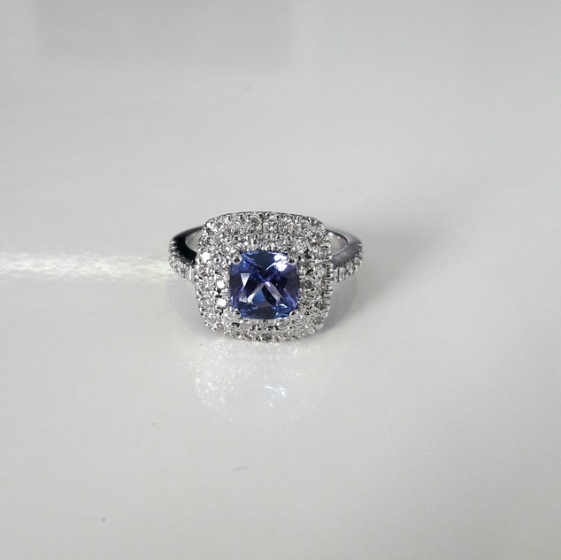 Tanzanite and Diamond Double Halo Ring