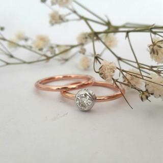 Simple Rose Gold Tube Set Ring Set