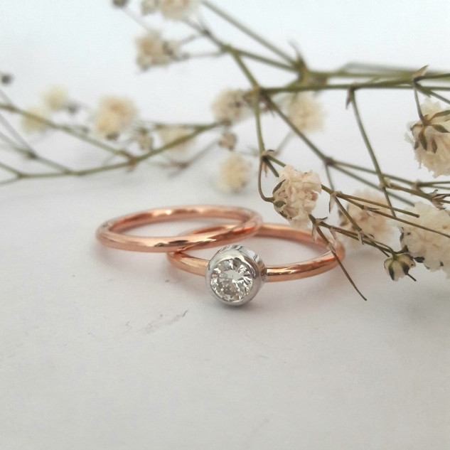 Simple Rose Gold Tube Set Ring Set