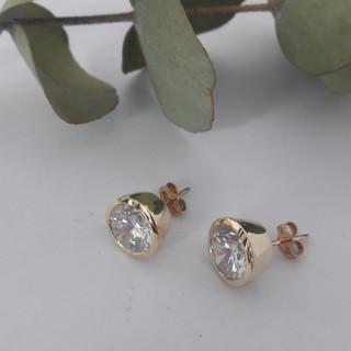 Tube Set Diamond Stud Earrings