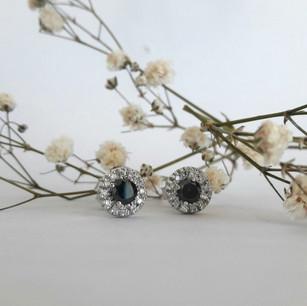 Black Diamond Halo Stud Earrings