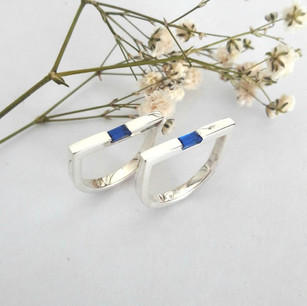 Silver and Sapphire Stack Rings