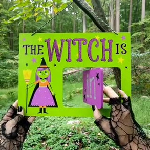 Halloween Witch Spinner Sign