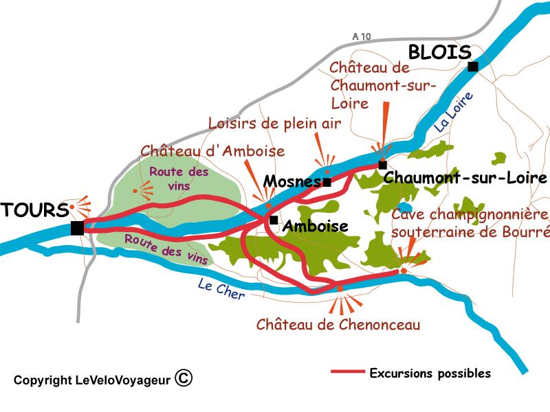Carte La Loire et le Cher à Vélo