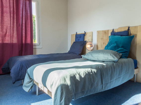 chambre bleu Maison de vacances Lysalin.