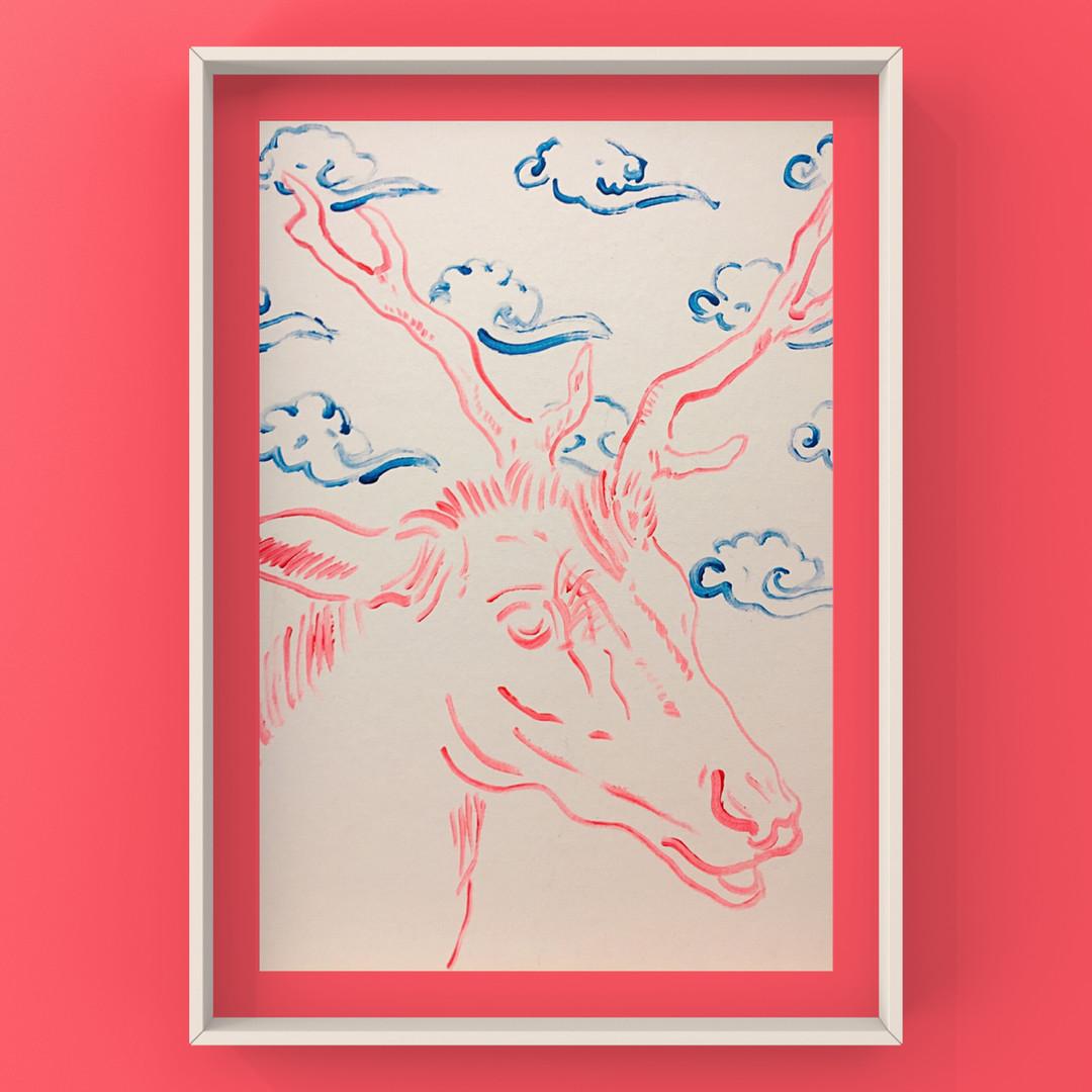 Poposki, Deer with Clouds