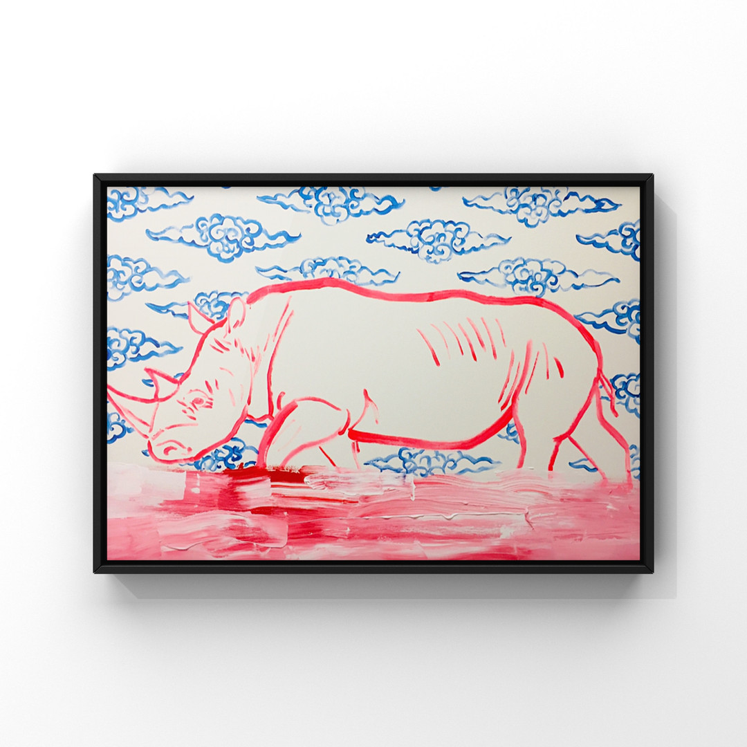 Poposki, White Rhino with Clouds