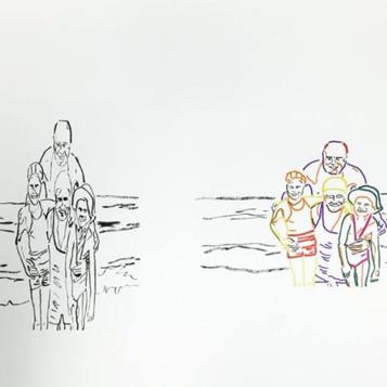 Poposki, Family at the Seaside (after Gerhard Richter)