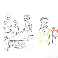 Poposki, On the beach (F. Scott Fitzgerald, Zelda Fitzgerald, and Scottie), 2014