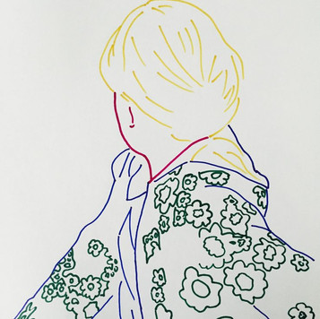 Poposki, Woman_looking (After Gerhard Richter)