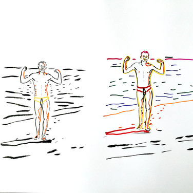 Poposki, On the beach (Keith Haring)