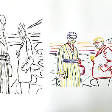 Poposki, On the beach (Jean-Paul Sartre and Simone de Beauvoir)), 2015