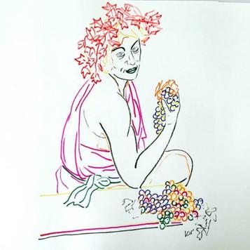Poposki, Self-portrait as Bacchus (after Cindy Sherman after Caravaggio)