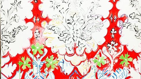Poposki_Red_Wallpaper_with_Salamanders__