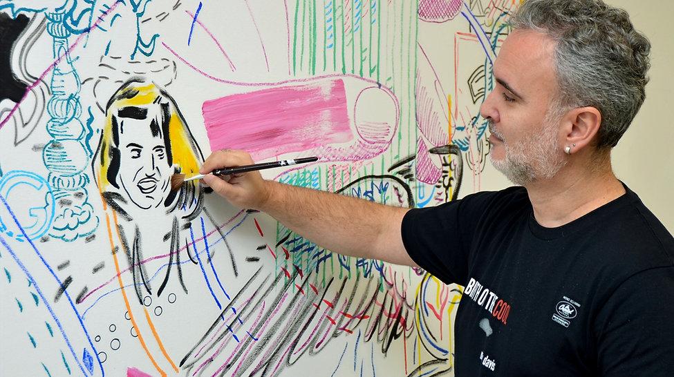Artist Zoran Poposki painting