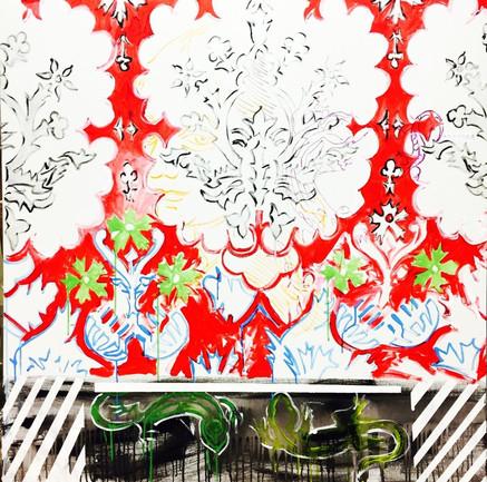 Zoran Poposki, Red Wallpaper with Salamanders (Leonardo Dreams of Matisse)