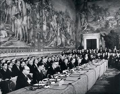 The treaty of Rome (1957) brought about the creation of the European Economic Community (ECC), the ancestor of the EU.