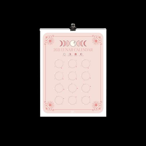 Pink Lunar Calendar Print