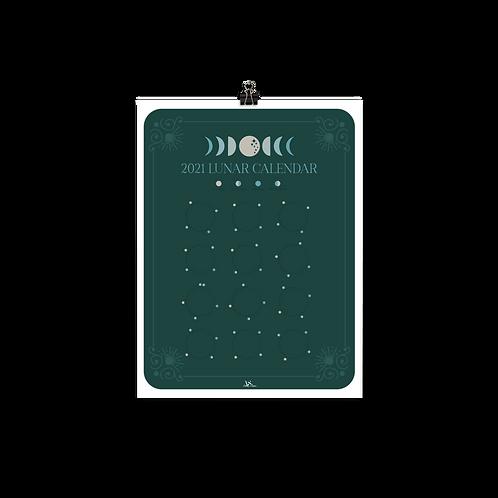 Green Lunar Calendar Print