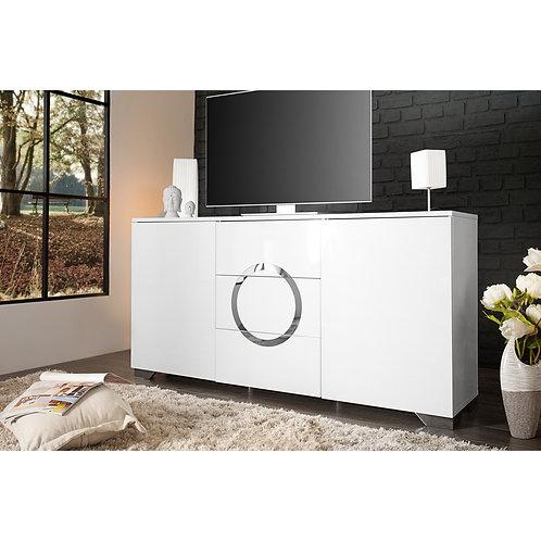 Mesa De Televisión Moderna Blanco y Cromo Ref: Ozmor Plus150 (150X75X40)